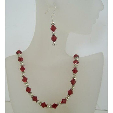 NSC394  Swarovski Siam Red Crystals Jewelry w/ Bali Silver Sterling Silver Earrings & Necklace