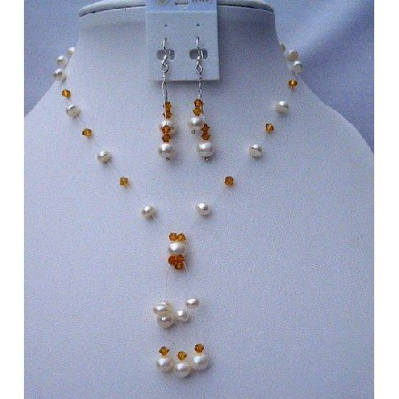NSC389 Topaz Crystals Necklace w/ Freshwater Pearls Tassel & Swarovski Topaz Crystals Necklace Set