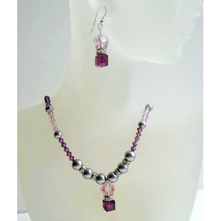 NSC381  Amethyst Swarovski Crystals Beaded Jewelry Set w/ Grey Pearls & Silver Rondells