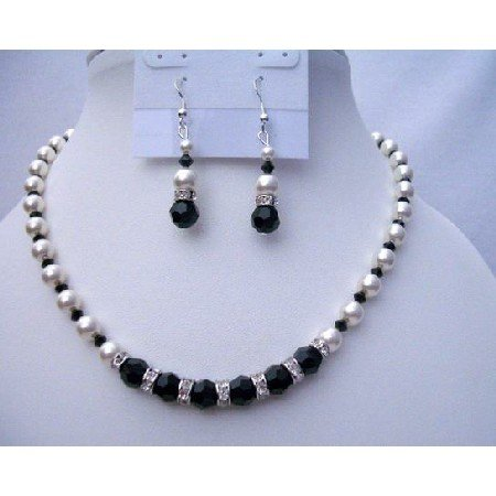 NSC379  Swarovski Jet Crystals White Pearls Jewelry Genuine & Fine Necklace Sets