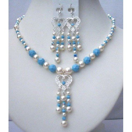 NSC368  Genuine Swarovski Pearls Turquoise & AB Turquoise Beads Necklace & Earrings