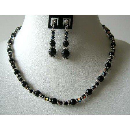 NSC366  AB Jet Swarovski Crystals w/ Genuine Swarovski Mystic Pearls Bali Silver Necklace Set