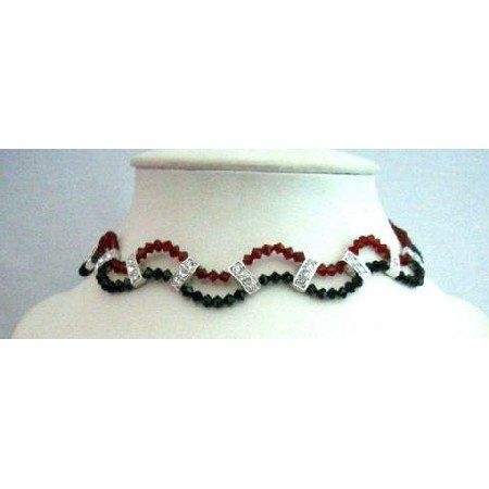 NSC344  Formal Wear Jewelry Party Jewelry Genuine Swarovski Jet & Siam Red Crystals Necklace