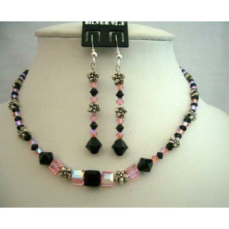 NSC335 New Rose AB Crystals w/ Jet Crystals Genuine Swarovski Crystals Necklace Set w/ Bali Silver