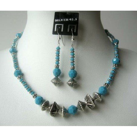 NSC332  Classic Tribal Ethnic Turquoise Crystals Beads Necklace Set