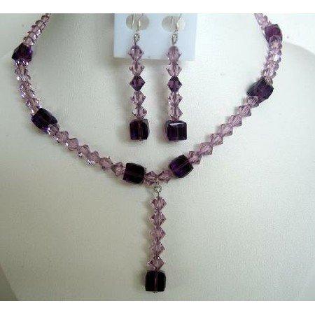 NSC277  Sparkling Evening Jewelry Genuine Amethyst Crystals Necklace Set w/ TearDrop