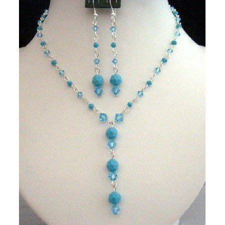 NSC213 Swarovski Aquamarine & Turquoise Crystals Y Necklace Set Handcrafted Custom Jewelry