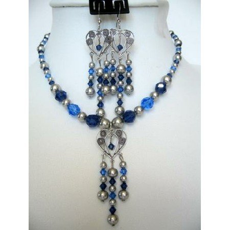 NSC160  Vintage Swarovski Sapphire Crystals & Pearls Necklace Set Handcrafted Custom Jewelry