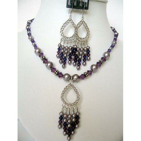 NSC157  Genuine Swarovski Purple Pearls & Amethyst Crystals w/ Dangling Pendants Necklace Set