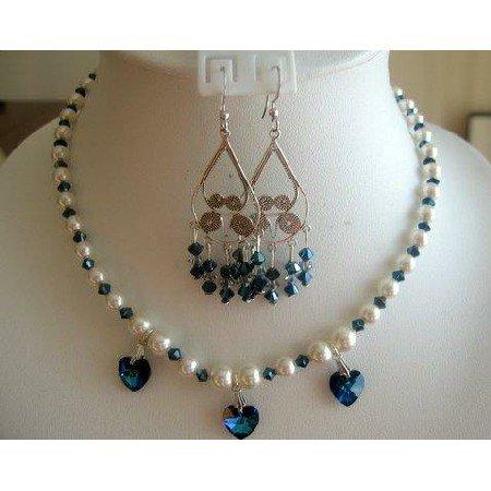 NSC143  Genuine Swarovski Cream Pearls w/ Blue Sapphire Crystals Necklace Set