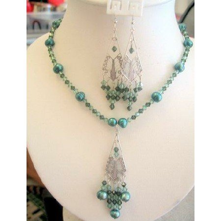 NSC142 Swarovski Crystals Erinite Green Freshwater Pearls Necklace Set Handcrafted Custom Jewelry