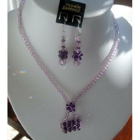 NSC134  Genuine Light Amethyst Swarovski Crystals w/ Purse Pendant Necklace Set