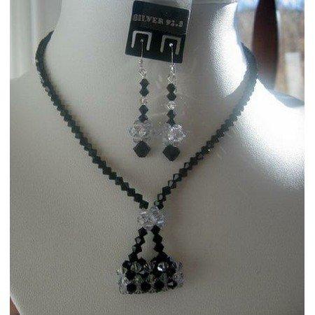 NSC133  Genuine Swarovski Jet Crystals w/ Purse Pendant Necklace Set