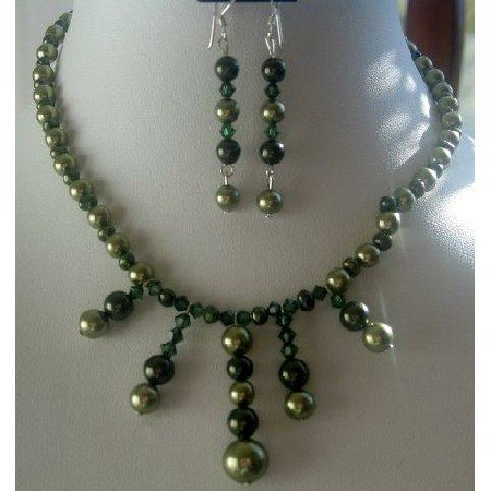 NSC132  Genuine Green Freshwater Pearls & Tahitan Crystals Necklace Set