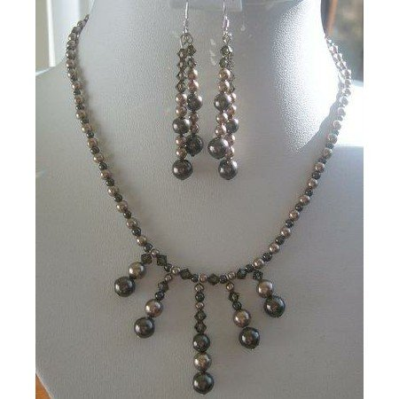 NSC131  Genuine Swarovski Dark Topaz & Champagne Pearls Necklace Set