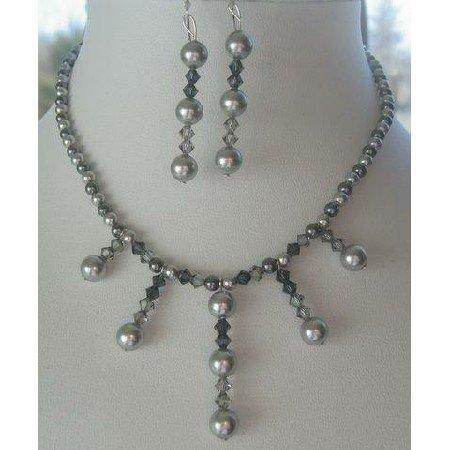 NSC130  Genuine Swarovski Grey Pearls & Crystals Necklace & Earrings Handcrafted Custom Jewelry