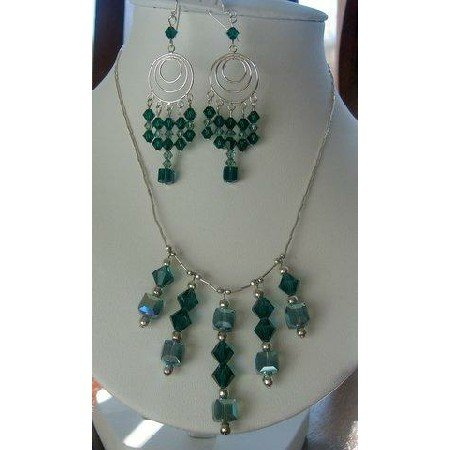 NSC127  Genuine Swarovski Emerald Crystals Bridal Sterling Silver Necklace Set