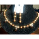 NSC110  Genuine Swarovski Gold Tone Crystals & Pearls Necklace Set