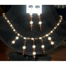 NSC101 Genuine Swarovski Austrian Lt. & Dark Smoked Topaz Crystals & Cream Pearls Necklace Set