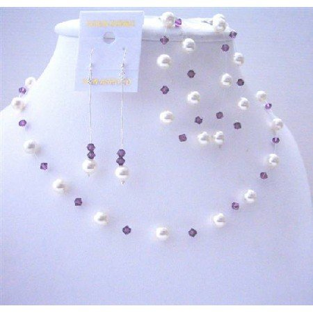 BRD483  Amethyst Swarovski Crystals & White Pearls Wedding Jewelry Complerte Set w/ Bracelet