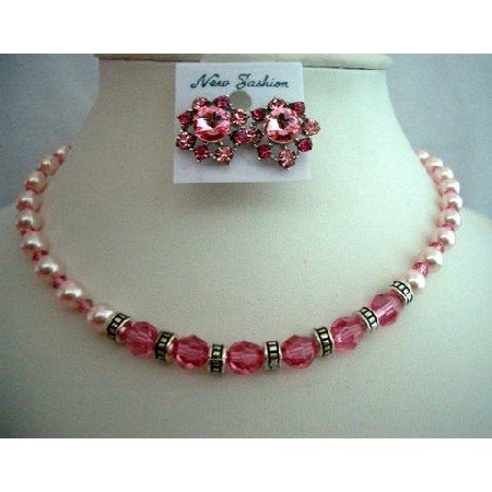 BRD307  Artisan Jewelry Handcrafted Rose Pearls & Crystals Wedding Jewelry Bridal Necklace Set