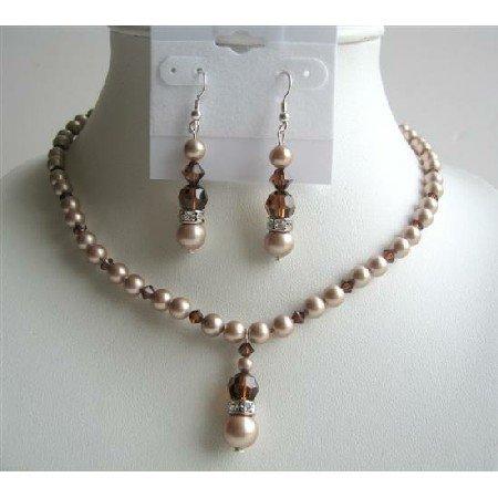 BRD448 Powder Almond Pearls & Swarovski Smoked Topaz AB Crystals Handcrafted Jewelry Set