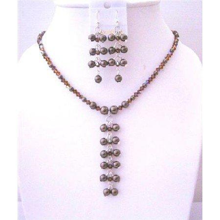 BRD454 Smoked Topaz AB Swarovski Crystals & Brown Pearls Dangling Drop Necklace Earrings Set