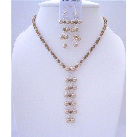 BRD426 Genuine Swarovski Pearls Dangling Drop Necklace And Earrings Jewelry Set
