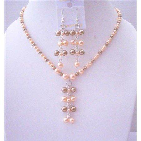 BRD462  Genuine Swarovski Pearls Dangling And Earrings Jewelry Set