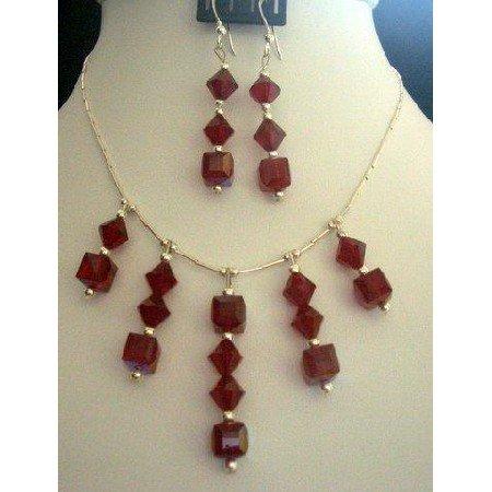 BRD120 Genuine Garnet Crystals Bridal Sterling Silver Necklace Set Handmade