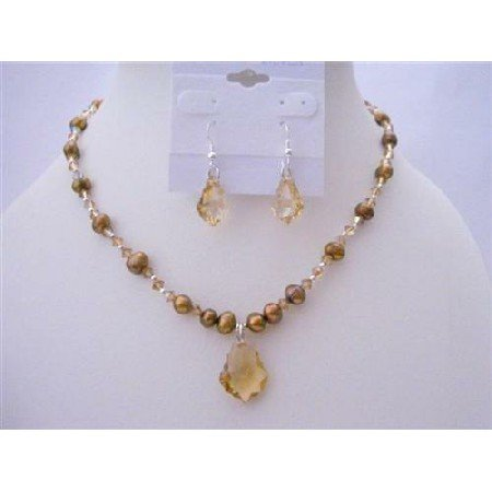 BRD400  Swarovski Golden Shadow Crystals Briolletts Pendant & Earrings Necklace Set