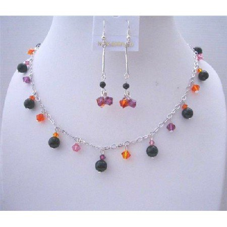 BRD467 Black Pearls w/ Swarovski MultiColor Crystals Jewelry Set Wedding Party Perfect Jewelry Gift