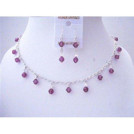 BRD509  Handmade Swarovski Crystals Bridemaides Necklace Sets Amethyst Crystals & AB Crystals