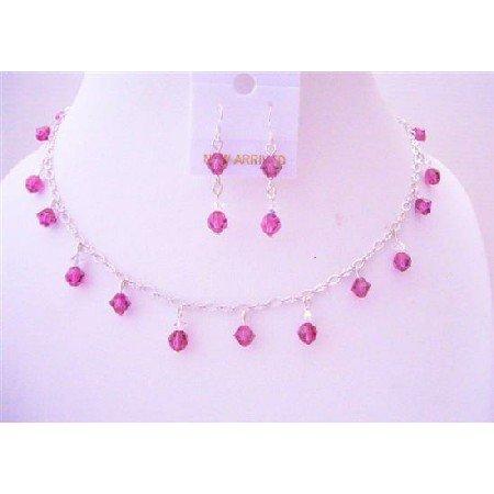 BRD510  Fuschia Swarovski Crystals Handmade Bridal Bridemaides Necklace Sets w/ AB Crystals