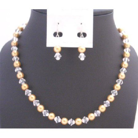 NS732 Bridemaids Jewlery Golden Pearls Faux Pearls & Chinese Crystals Dainty Set
