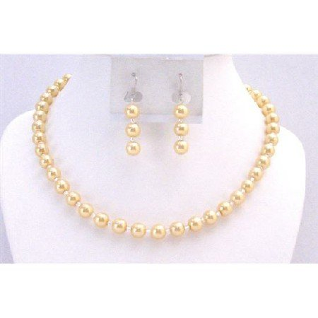 NS733  Yellow Pearls w/ Glass Beads Beautiful Gorgeous Necklace Set Wedding Jewlery
