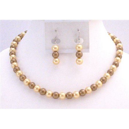 NS735  Wedding Latte Dress Jewelry Pearls Latte Pearls and Yellow Pearls Necklace Jewelry