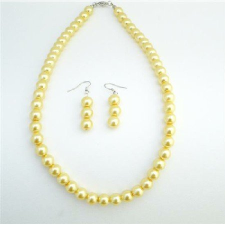 NS736  Yellow Bridemaids Dress Jewelry Very Cute Beautiful Yellow Color Jewelry Set