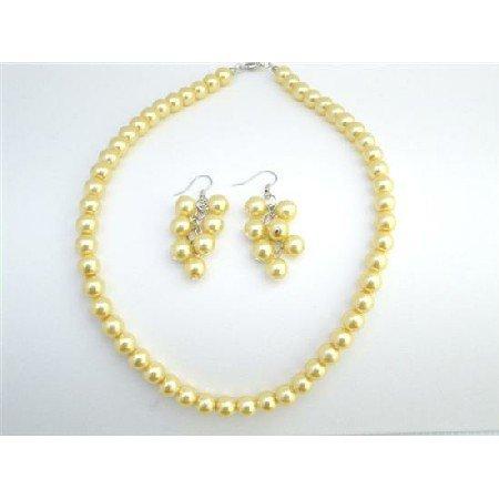 NS737 Yellow Color Jewelry Wedding Yellow Dress Jewelry Yellow Pearls Jewelry Set