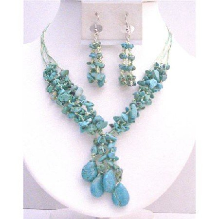 NS738 Turquoise Stones Interwoven In 5 Stranded Matching Silk Thread Drop Down Necklace Set