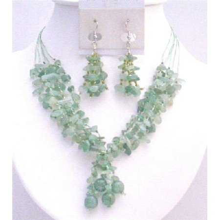 NS740  Jewelry Jade Silk Thread Multi 5 Strand With Interwoven Stones Silver Earrings