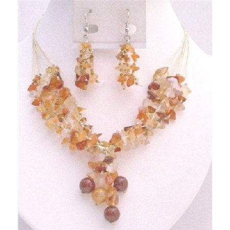 NS741 Carnelian Stone Nugget Woven In Silk Thread Matching Silver Earrings Set