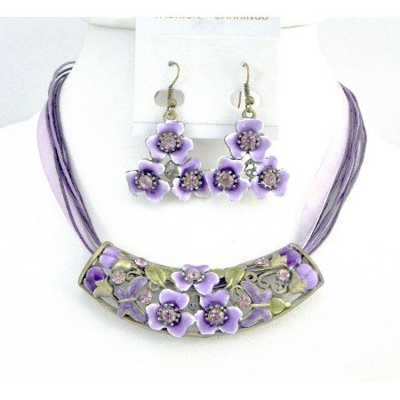 NS747  Purple Jewelry Multistring Necklace w/ Flower Enamel Pendant Jewelry
