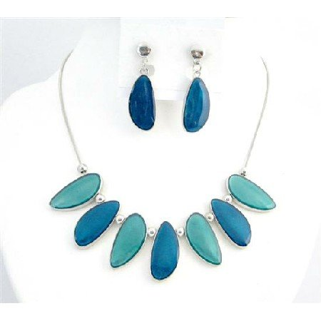 NS750 Sea Turquoise Painted Enameled Leaf Shape Necklace Set Color Combination Turquoise & Dark Blue