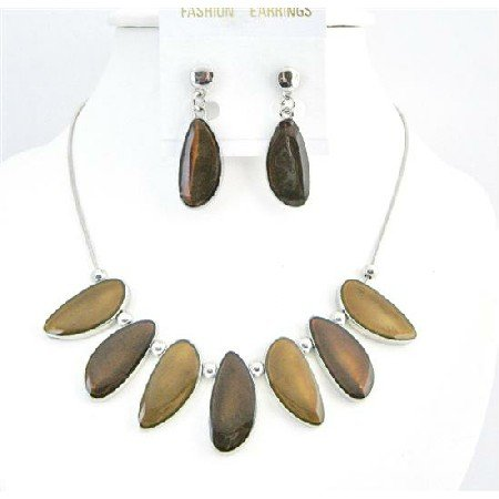 NS751  Brown Leaf Beads Jewelry Set Painted Enameled Brown Leaf Shape Necklace Set