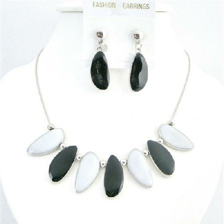 NS752  Leaf Shaped Jewelry Creative Ethnic Painted Black And White Leaf Necklace Set