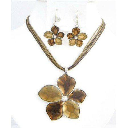NS754 Colorado & Smoked Topaz Necklace Set Shaded Flower Necklace Set In Brown