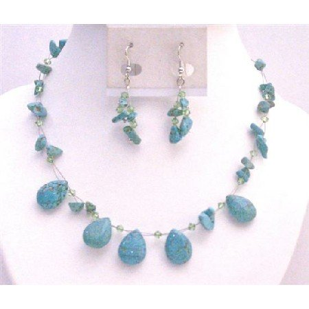 NS757 Turquoise Nugget Chips With Teardrops With Peridot Swarovski Crystals Necklace Set