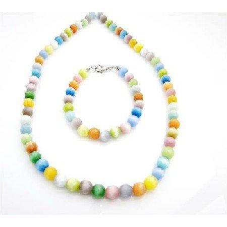 NS761  8mm Multifaceted Multicolor Cat Eye Glass Beads Necklace Bracelet Set