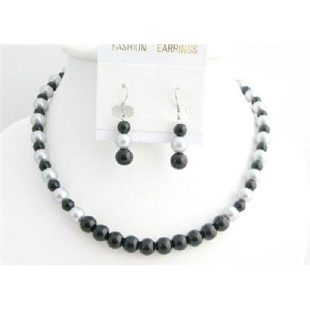 NS764  Wedding Silver & Black Dress Jewelry Pearls Necklace Set